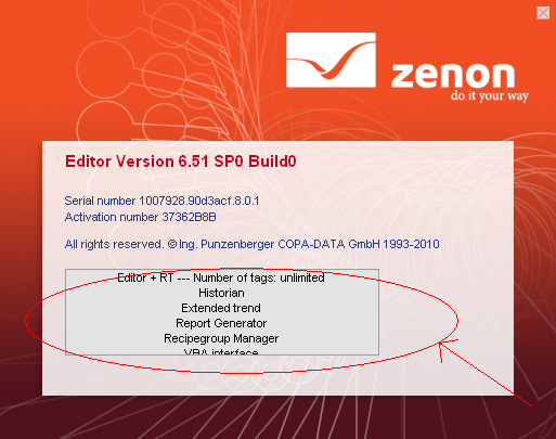 zenon license config